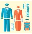 airplane pilot and stewardess uniform on flat vector image