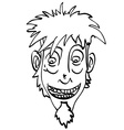 black and white crazy face vector image
