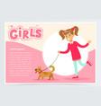 cute beautiful girl walking with her dog girls vector image