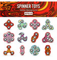 hand spinner toys set flat icons set vector image