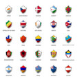 set of flags on metal shiny shield vector image