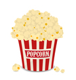 Striped bag of popcorn isolated on white vector image