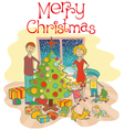 happy christmas family vector image vector image