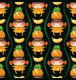seamless pattern with pineapple fruit girl vector image