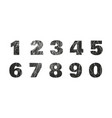 set of grunge numbers with peeled metal texture vector image