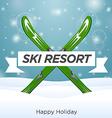 Sunny ski resort and happy holiday vector image