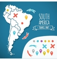 Hand drawn South America travel map with pins vector image vector image