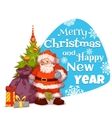 Santa Claus with pine and gifts Merry Christmas vector image