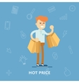 Man with lots of shopping bags from the store vector image