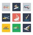 Sea sports flat icons vector image