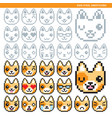 dog pixel emoticons vector image