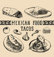 mexican food menu in burritos nachos vector image