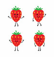 set cartoon strawberrys vector image