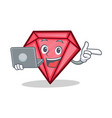 with laptop diamond character cartoon style vector image