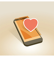 mobile device heart symbol vector image