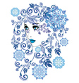 Winter Girl with Floral9 vector image