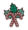 christmas candy cane with leaves vector image
