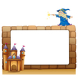 An empty signage with a wizard and a castle vector image vector image