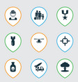 combat icons set collection of danger chopper vector image