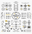 Black and golden hand drawn cute design elements vector image