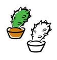 hand drawing cartoon cactus vector image