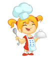 cartoon girl cooks vector image