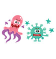 couple of ugly virus germ bacteria characters vector image