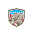 Elephant Prancing Stars Shield Retro vector image vector image