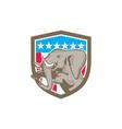Elephant Prancing Stars Shield Retro vector image
