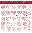 Hearts hand drawing doodle setRed decoration vector image