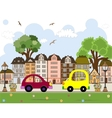 Car passing by in abstract city vector image