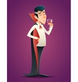 Cartoon Halloween Vampire Gentleman Savor Drink vector image