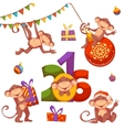 Christmas set with monkey for 2016 New Year vector image