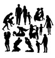 family activity silhouettes vector image
