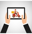 hand hold delivery food boy on scooter vector image