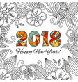 new year card with numbers 2018 on floral vector image