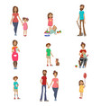 parents and their kids set mom dad and children vector image