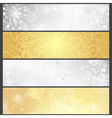 Set shiny silvery and golden winter banners vector image