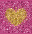 yellow gold glitter heart on purple pink texture vector image