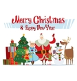Santa Claus wife and kids cartoot family vector image