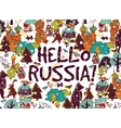 Hello Russia placard or color card snow and winter vector image