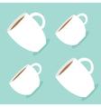 Coffee cup mug set Blue background Flat modern vector image vector image
