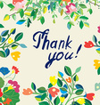 Thank you floral nice card vector image