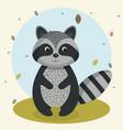 cartoon raccoon wild animal with falling leaves vector image