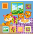 Cat Carries Square Gift vector image