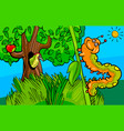 caterpillar insect cartoon character vector image