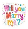 Will you Marry me retro typography lettering vector image
