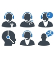 Call Center Operator Flat Icons vector image