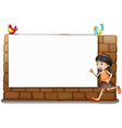 A white board a girl and birds vector image vector image