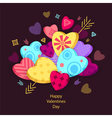 Textured Hearts with 3D effect and arrow on dark vector image vector image